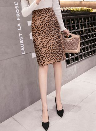 Leopard Knee-Length Elegant None Skirts