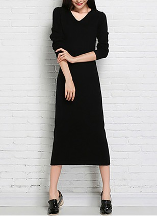 Cotton Blends Solid Long Sleeve Maxi Dresses