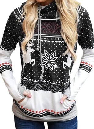 Geometric Christmas Hooded Pockets Sweatshirts (120649590)