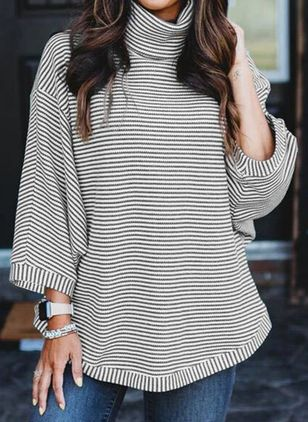 Stripe Casual High Neckline Long Sleeve Blouses (146744797)