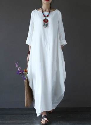 Linen Solid Long Sleeve Maxi Dresses