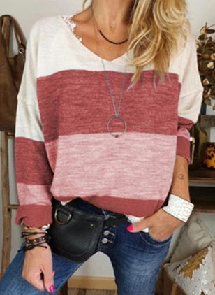 Color Block Casual V-Neckline Long Sleeve Blouses (6211384)