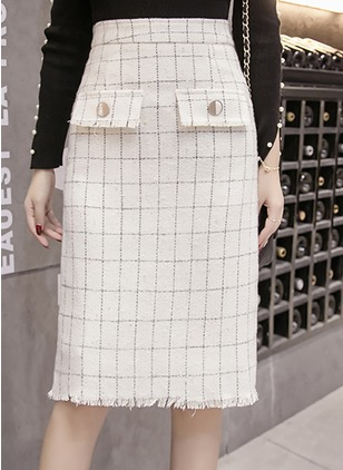 Polyester Check Mid-Calf Casual Pockets Zipper Skirts