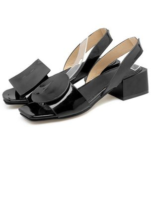 Women's Others Square Toe Patent Leather Low Heel Sandals