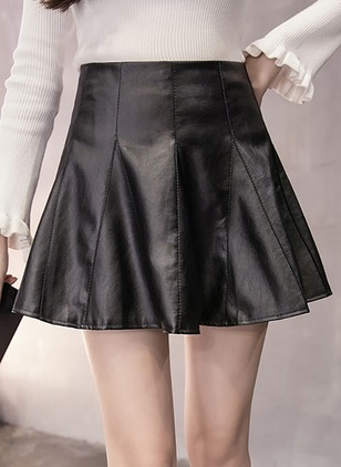 PU Solid Above Knee Casual Ruffles Skirts