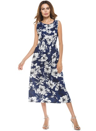Cotton Floral Sleeveless Midi A-line Dress