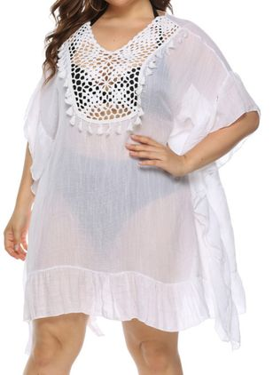 Plus Size Cover-Ups Polyester Natural Waist Solid Tassels Plus Swimwear (4043164)