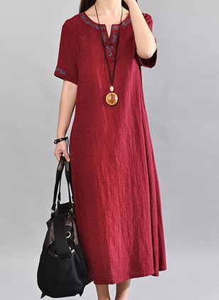 Chinese Casual Solid Round Neckline Midi Shift Dress (4864697)