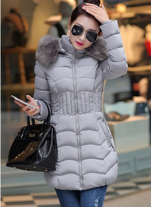 Polyester Long Sleeve Hooded Zipper Pockets Coats