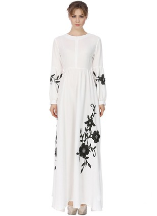 Floral Embroidery Long Sleeve Maxi Shift Dress