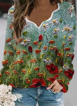 V-Neckline Floral Casual Regular Shift Sweaters (146771975)
