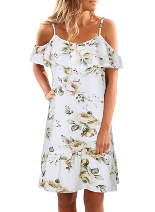 Floral Ruffles Slip Camisole Neckline Shift Dress
