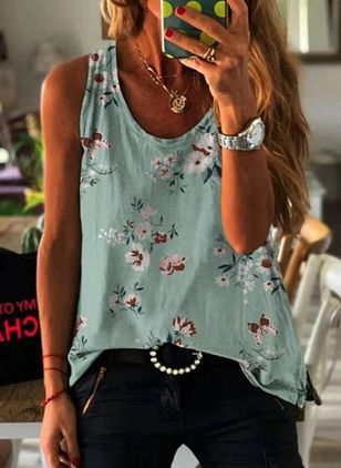 Floral Round Neck Sleeveless Casual T-shirts (147424987)