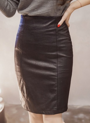 PU Solid Knee-Length Casual Zipper Skirts