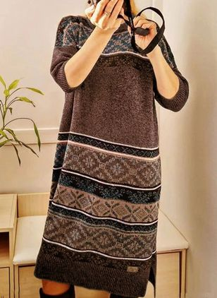 Casual Geometric Sweater Round Neckline Shift Dress (146659268)