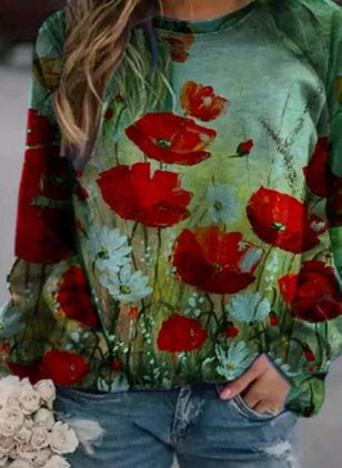 Floral Casual Round Neckline Long Sleeve Blouses (146718160)