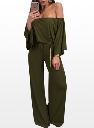 Polyester Solid 3/4 Sleeves Jumpsuits & Rompers