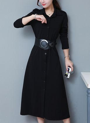 Solid Shirt Long Sleeve Midi A-line Dress