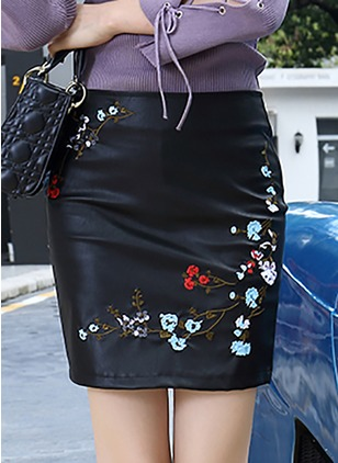 PU Floral Mini Sexy Embroidery Skirts