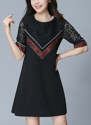 Color Block Lace Half Sleeve Above Knee Shift Dress