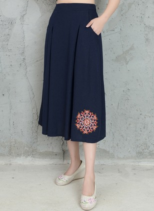 Cotton Solid Mid-Calf Casual Pockets Skirts