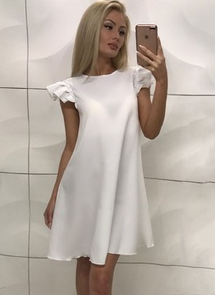 Solid Ruffles Cap Sleeve Shift Dress