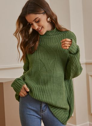 High Neckline Solid Casual Regular Shift Sweaters (122029299)