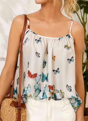 Animal Casual Camisole Neckline Sleeveless Blouses (146884241)