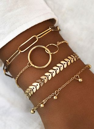Casual Round No Stone Link Bracelets (1417105)
