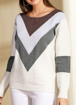 Round Neckline Color Block Casual Short Shift Sweaters (1398826)