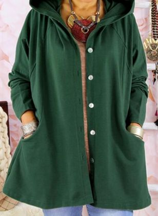 Long Sleeve Hooded Buttons Pockets Coats (131285801)