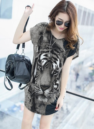 Cotton Animal Short Sleeve Shift Dress