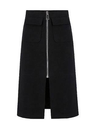 Solid Knee-Length Casual Zipper Pockets Skirts