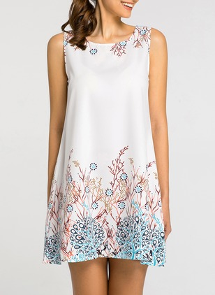 Floral Tank Sleeveless Above Knee Shift Dress