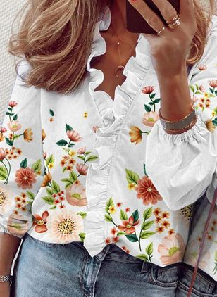 Floral Casual V-Neckline Long Sleeve Blouses (146681687)