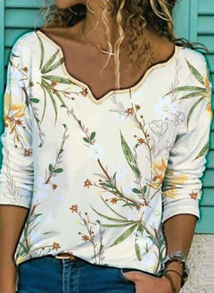 Floral Casual V-Neckline 3/4 Sleeves Blouses (6211442)