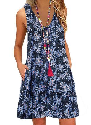 Casual Floral Tunic V-Neckline Shift Dress (101986507)