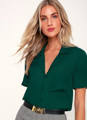 Solid Elegant Collar Short Sleeve Blouses