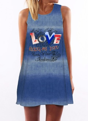 Alphabet Tank Sleeveless Mini Shift Dress