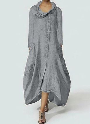 Casual Solid Tunic Draped Neckline Shift Dress (106821951)