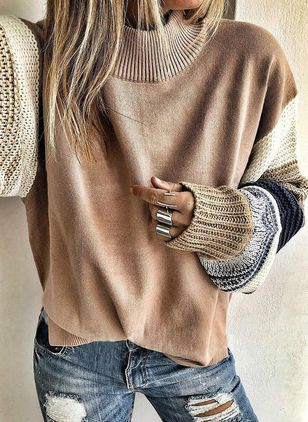 Round Neckline Color Block Casual Loose Regular Shift Sweaters (104534385)
