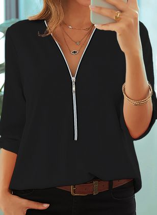 Solid Casual V-Neckline Half Sleeve Blouses (4663832)