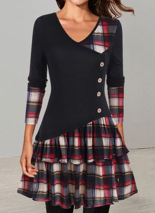 Casual Plaid Skater V-Neckline X-line Dress (146788781)