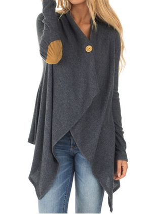 V-Neckline Color Block Casual Loose Regular Shift Sweaters (146650971)