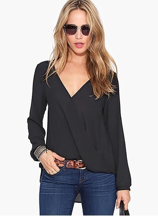 Solid Casual Linen V-Neckline Long Sleeve Blouses