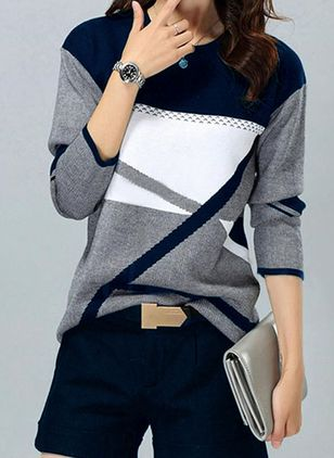Round Neckline Color Block Casual Loose Regular Sweaters