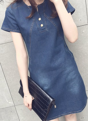 Solid Buttons Short Sleeve Above Knee Shift Dress