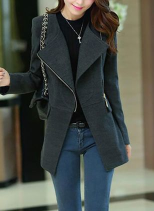 Long Sleeve Lapel Zipper Zip Up Coats