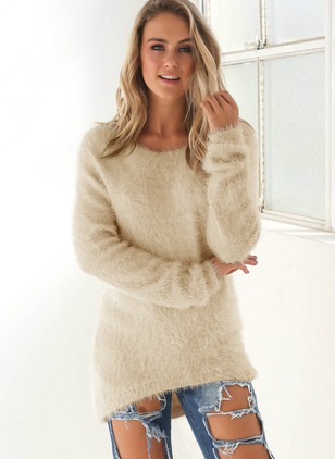 Polyester Round Neckline Solid Asymmetrical Long Sweaters