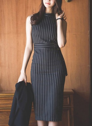 Polyester Stripe Sleeveless Knee-Length Dresses